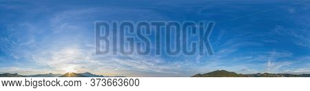 360 Panorama Sunrise Sky With Clouds, Without Ground For Easy Use In 3d Graphics And Panorama For Co