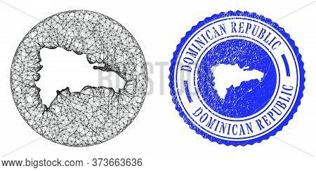 Mesh Hole Round Dominican Republic Map And Grunge Seal Stamp. Dominican Republic Map Is Inverted In