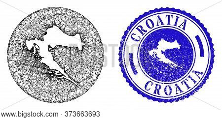 Mesh Subtracted Round Croatia Map And Grunge Seal. Croatia Map Is A Hole In A Circle Seal. Web Mesh