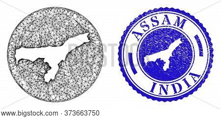 Mesh Hole Round Assam State Map And Scratched Stamp. Assam State Map Is Stencil In A Round Stamp Sea