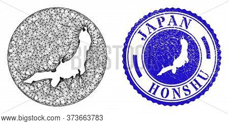 Mesh Inverted Round Honshu Island Map And Scratched Seal Stamp. Honshu Island Map Is Cut Out From A