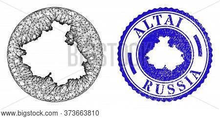 Mesh Stencil Round Altai Republic Map And Grunge Stamp. Altai Republic Map Is A Hole In A Circle Sta