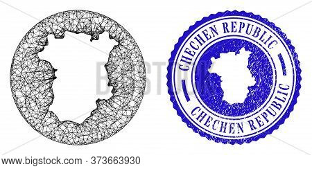 Mesh Subtracted Round Chechen Republic Map And Scratched Seal Stamp. Chechen Republic Map Is A Hole