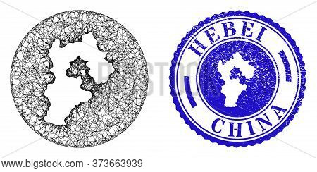 Mesh Subtracted Round Hebei Province Map And Grunge Seal Stamp. Hebei Province Map Is Subtracted Fro