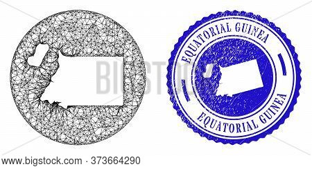 Mesh Subtracted Round Equatorial Guinea Map And Scratched Seal Stamp. Equatorial Guinea Map Is Carve