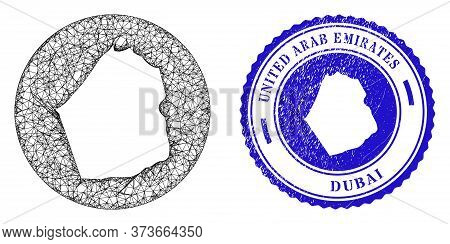 Mesh Hole Round Dubai Emirate Map And Scratched Seal Stamp. Dubai Emirate Map Is Cut Out From A Roun