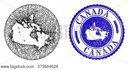 Mesh Hole Round Canada Map And Grunge Seal. Canada Map Is A Hole In A Circle Stamp Seal. Web Mesh Ve