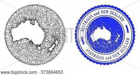 Mesh Hole Round Australia And New Zealand Map And Grunge Seal Stamp. Australia And New Zealand Map I