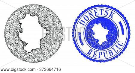 Mesh Inverted Round Donetsk Republic Map And Grunge Stamp. Donetsk Republic Map Is Inverted In A Cir