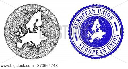 Mesh Subtracted Round European Union Map And Grunge Seal Stamp. European Union Map Is A Hole In A Ro