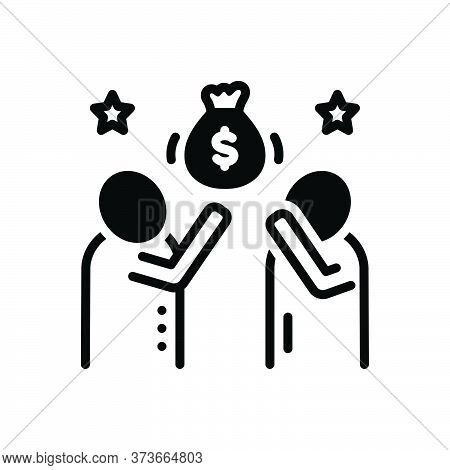 Black Solid Icon For Induce Stimulate Motivate Agitate Encourage Money Embolden
