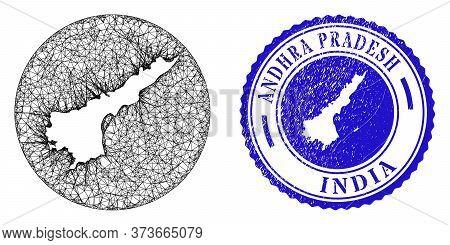 Mesh Inverted Round Andhra Pradesh State Map And Scratched Seal. Andhra Pradesh State Map Is Inverte