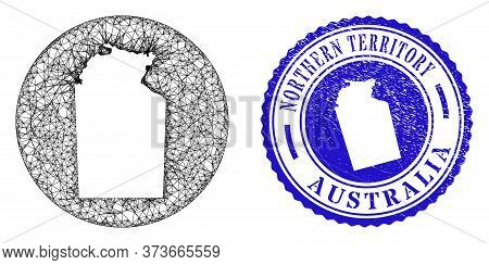 Mesh Subtracted Round Australian Northern Territory Map And Grunge Seal Stamp. Australian Northern T