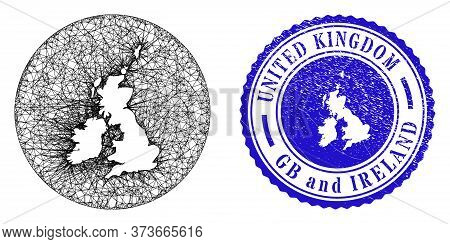 Mesh Inverted Round Great Britain And Ireland Map And Scratched Seal Stamp. Great Britain And Irelan