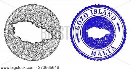 Mesh Inverted Round Gozo Island Map And Grunge Seal Stamp. Gozo Island Map Is Inverted In A Circle S