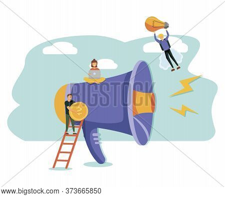 Business Advertising Promotion. Loudspeaker Talking To The Crowd. Big Megaphone And Flat People Char