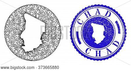 Mesh Subtracted Round Chad Map And Scratched Seal Stamp. Chad Map Is Carved In A Round Seal. Web Net