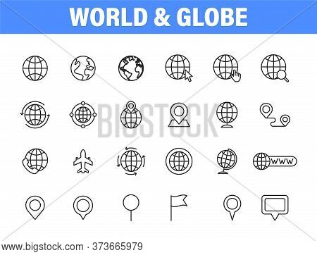 Set Of 24 Globe And Earth Planet Web Icons In Line Style. Navigational Equipment, Planet Earth, Airp