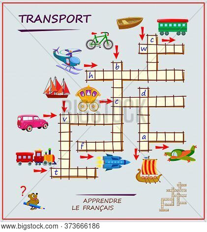 Learn French. Crossword Puzzle Game With Transport. Educational Page For Children To Study French La