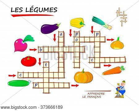 Learn French. Crossword Puzzle Game With Vegetables. Educational Page For Children To Study French L