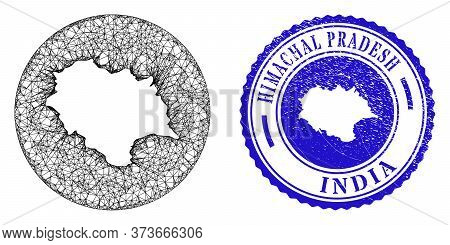 Mesh Inverted Round Himachal Pradesh State Map And Grunge Seal. Himachal Pradesh State Map Is Invert