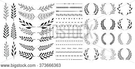 Set Of Black Circular Foliate Laurels Branches. Vintage Laurel Wreaths Collection. Hand Drawn Vector