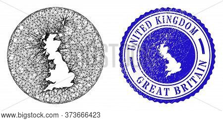 Mesh Hole Round Great Britain Map And Grunge Seal Stamp. Great Britain Map Is A Hole In A Circle Sta