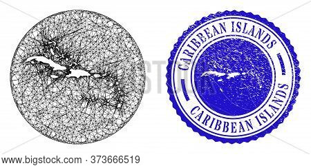 Mesh Stencil Round Caribbean Islands Map And Scratched Seal Stamp. Caribbean Islands Map Is A Hole I