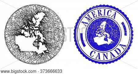 Mesh Stencil Round Canada V2 Map And Grunge Seal Stamp. Canada V2 Map Is A Hole In A Circle Stamp Se