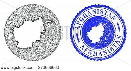 Mesh Subtracted Round Afghanistan Map And Grunge Seal Stamp. Afghanistan Map Is A Hole In A Round St
