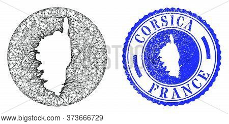 Mesh Stencil Round Corsica Map And Scratched Stamp. Corsica Map Is Stencil In A Circle Stamp Seal. W
