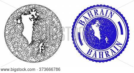 Mesh Inverted Round Bahrain Map And Scratched Seal Stamp. Bahrain Map Is Inverted In A Circle Stamp