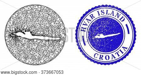 Mesh Stencil Round Hvar Island Map And Grunge Seal Stamp. Hvar Island Map Is A Hole In A Circle Stam