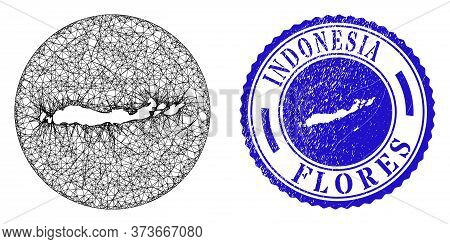Mesh Stencil Round Flores Islands Of Indonesia Map And Grunge Seal. Flores Islands Of Indonesia Map
