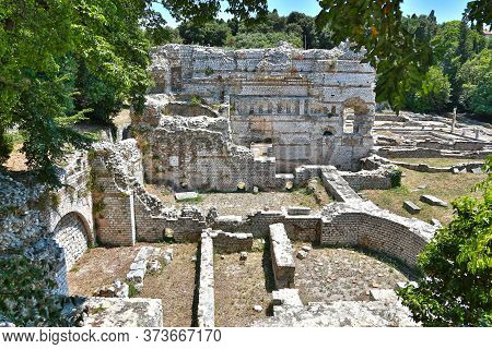 Nice, France - June 19, 2014: Roman Ruins Of The Archaeological Museum Of Cimiez