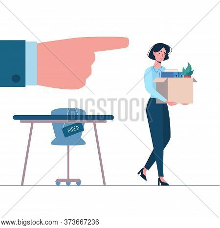 Dismissed Employee, Unemployment. Fired Woman Leaves The Office With A Box In His Hands. Person With