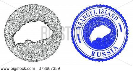 Mesh Inverted Round Wrangel Island Map And Grunge Seal Stamp. Wrangel Island Map Is Carved In A Circ