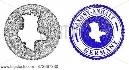 Mesh Hole Round Saxony-anhalt Land Map And Grunge Seal. Saxony-anhalt Land Map Is A Hole In A Circle