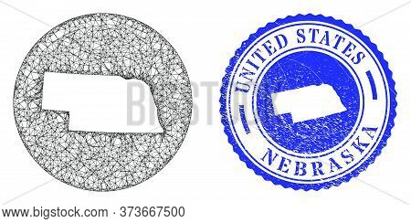 Mesh Stencil Round Nebraska State Map And Grunge Seal Stamp. Nebraska State Map Is Inverted In A Rou