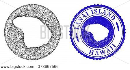 Mesh Stencil Round Lanai Island Map And Scratched Stamp. Lanai Island Map Is Carved In A Round Stamp