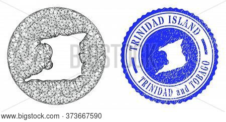 Mesh Inverted Round Trinidad Island Map And Scratched Seal Stamp. Trinidad Island Map Is A Hole In A