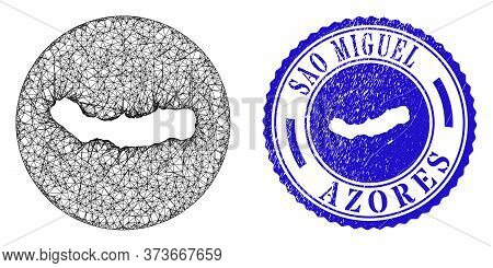 Mesh Stencil Round Sao Miguel Island Map And Grunge Seal Stamp. Sao Miguel Island Map Is Carved In A