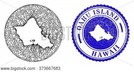 Mesh Subtracted Round Oahu Island Map And Scratched Stamp. Oahu Island Map Is A Hole In A Round Stam