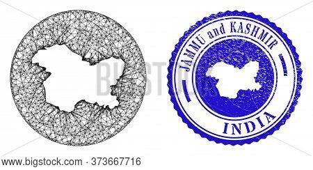 Mesh Hole Round Jammu And Kashmir State Map And Scratched Stamp. Jammu And Kashmir State Map Is A Ho