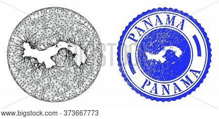 Mesh Inverted Round Panama Map And Scratched Seal Stamp. Panama Map Is A Hole In A Round Stamp Seal.