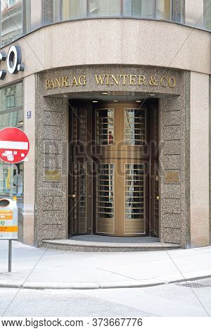 Vienna, Austria - July 12, 2015: Corner Entrance To Bank Ag Winter And Co Building In Vienna, Austri