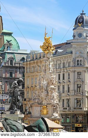 Vienna, Austria - July 11, 2015: Famous Landmark Plague Column Of Pest Monument At Graben Street In