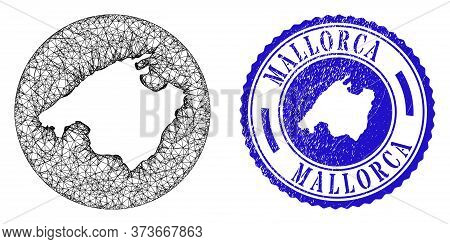 Mesh Inverted Round Mallorca Map And Scratched Stamp. Mallorca Map Is Inverted In A Round Stamp. Web