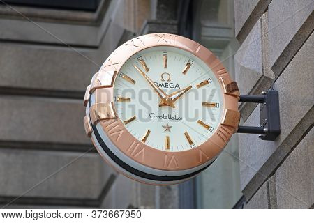 Vienna, Austria - July 12, 2015: Omega Constellation Watch Sign With Copper At Building In Vienna, A