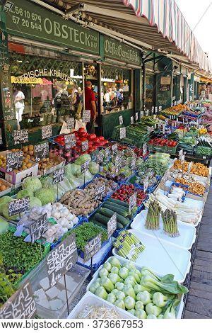 Vienna, Austria - July 11, 2015: Famous Naschmarkt Biggest Farmers Market In Vienna, Austria.